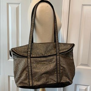 Victoria's Secret gold glitter large tote bag